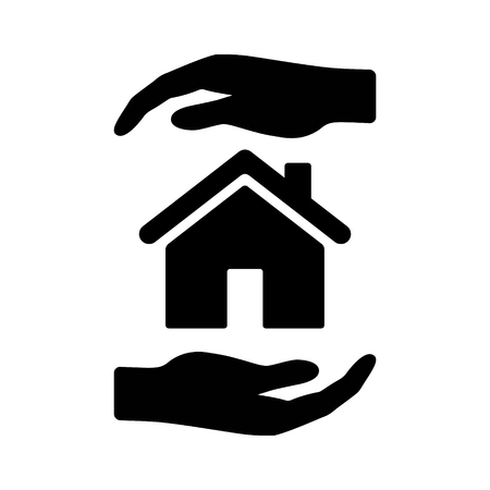 Hands holding home or homeowners insurance coverage flat vector icon for real estate apps and website Illustration