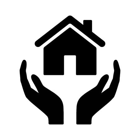Manos sosteniendo el icono de vector plano de seguro de hogar o propietario para aplicaciones de bienes raíces y sitio web