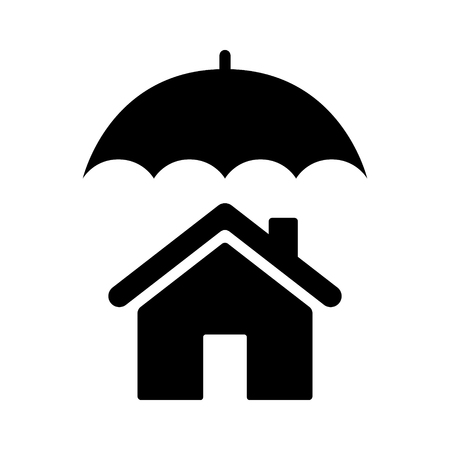 Umbrella covering house or home  homeowners insurance flat vector icon for real estate apps and websites