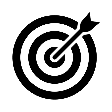 Target bullseye with arrow or personalized marketing flat vector icon for apps and websites Illustration