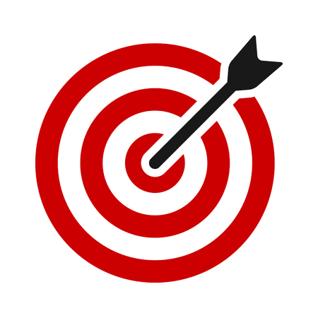 Target bullseye or arrow on target flat vector color icon for apps and websites
