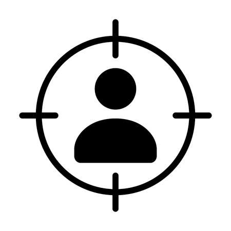 Marketing targeting a user or sniper sniping flat vector icon for apps and websites Illustration