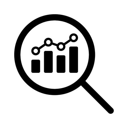 Afficher l'analyse financière ou l'icône de vecteur d'art en ligne de recherche de métriques pour les applications financières et les sites Web