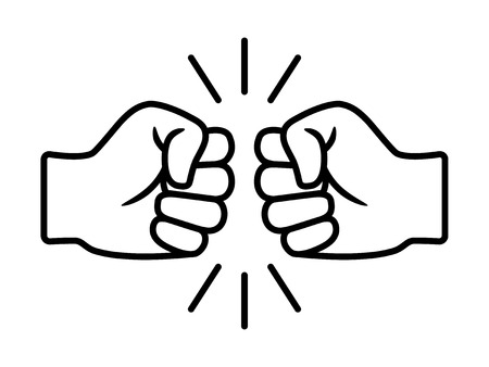 Bro fist bump or power five pound line art vector icon for apps and websites Vektorové ilustrace