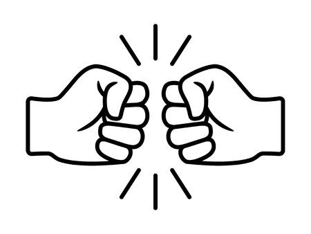 Bro fist bump ou power cinq livres icône vectorielle d'art en ligne pour les applications et les sites Web Vecteurs