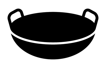 Traditional Chinese wok cooking pan flat vector icon for food apps and websites