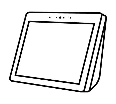 Smart speaker personal assistant with screen line art vector icon for apps and websites Banque d'images - 112752997
