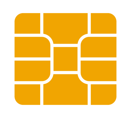 Gold credit or debit charge card emv chip flat vector icon for apps and websites