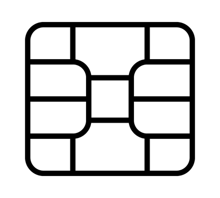 Credit or debit charge card emv chip line art vector icon for apps and websites