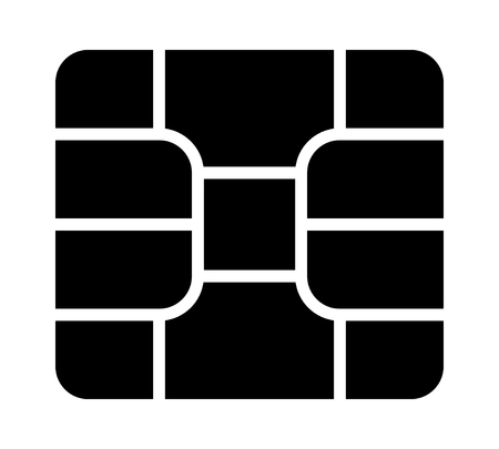 Icône vectorielle plate de carte de crédit ou de débit emv chip pour les applications et les sites Web