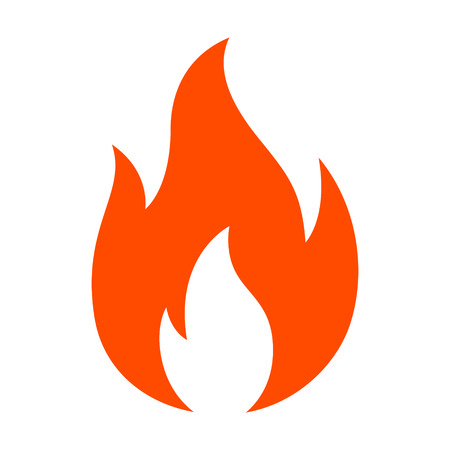 Red hot fire / flame heat or spicy food symbol flat vector icon for apps and websites Ilustração
