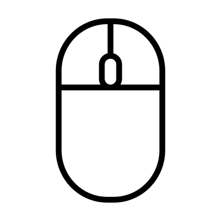 Wireless computer mouse with scroll wheel line vector icon for apps and websites