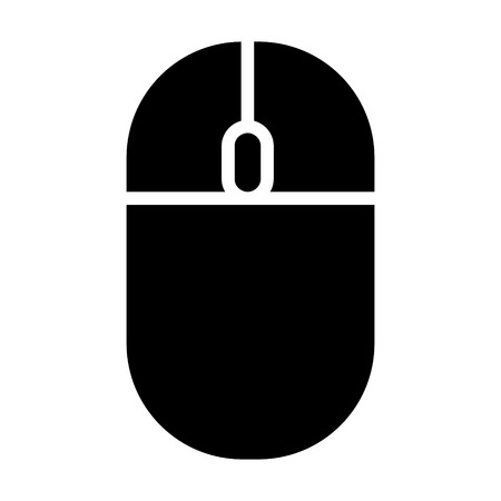 Wireless computer mouse with scroll wheel flat vector icon for apps and websites Ilustração