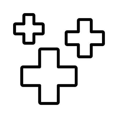 Heal, healing or regeneration symbol with crosses line art vector icon for games and apps Illusztráció