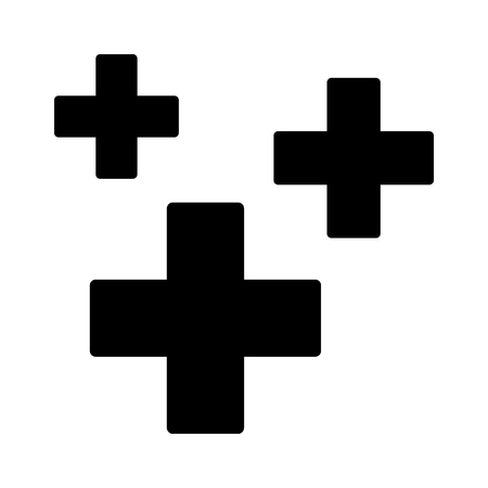 Heal, healing or regeneration symbol with crosses flat vector icon for games and apps