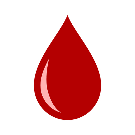 Red blood drop  droplet flat vector icon for medical apps and websites