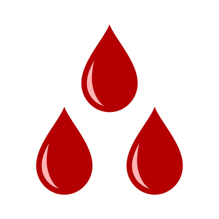 Three red blood drops  droplets flat vector icon for medical apps and websites