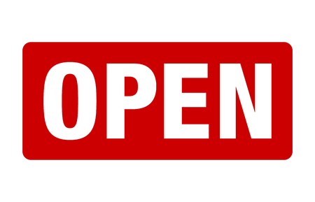 Red open sign for retail/store vector for websites and print