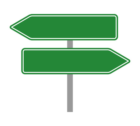 Two empty green traffic road sign arrows flat vector illustration for apps and print