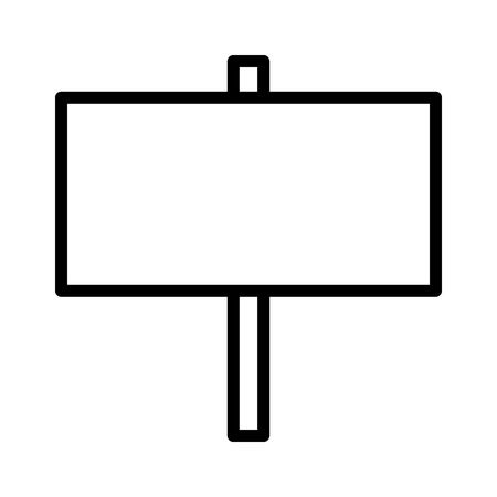 Blank wood sign or empty wooden signpost banner line art vector icon for apps and websites