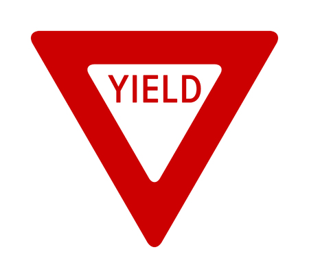 Red yield or give way sign with text flat vector icon for apps and print