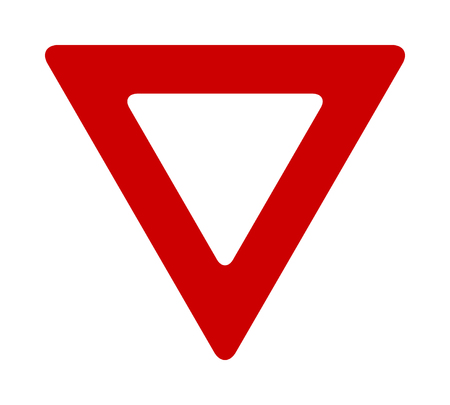 Red yield or give way sign flat vector icon for apps and print