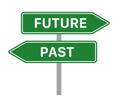 Concept de panneau de signalisation vert avec des flèches pointant vers l'avenir et le passé icône vectorielle à plat pour les applications et les sites Web