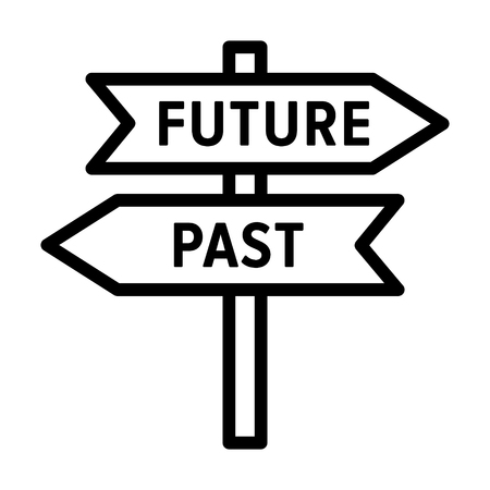 Road sign concept with arrows pointing to the future and past line art vector icon for apps and websites Ilustração