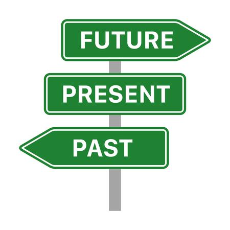 Zukünftige, gegenwärtige und vergangene grüne Verkehrszeichenpfeile Konzept flaches Vektorsymbol für Apps und Websites Vektorgrafik