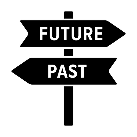 Road sign concept with arrows pointing to the future and past flat vector icon for apps and websites