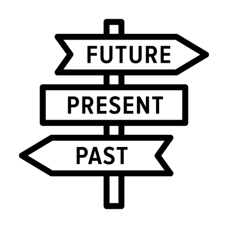 Future, present and past road sign arrows concept line art vector icon for apps and websites