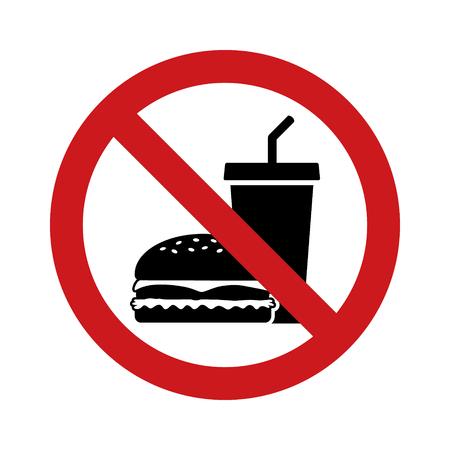Aucun signe extérieur de restauration rapide avec signe interdit rouge, hamburger et boisson gazeuse icône vectorielle plate
