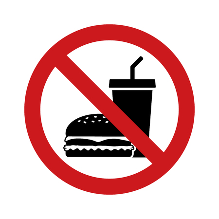 No outside fast food sign with red banned sign, hamburger and soda drink flat vector icon Banque d'images - 113393188