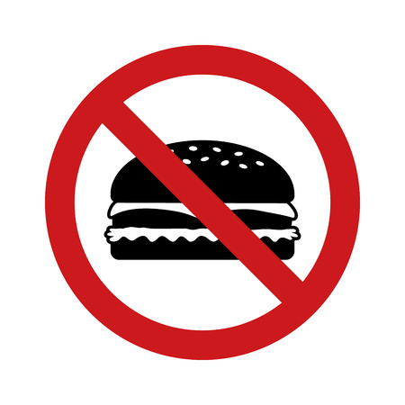 No outside fast food sign with red banned sign and hamburger flat vector icon Banque d'images - 113393189