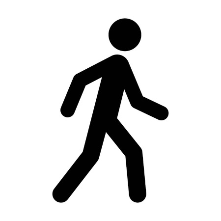 A person walking or walk sign flat vector icon for apps and websites Illustration