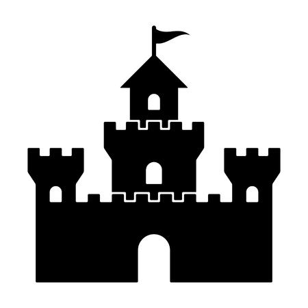 Large castle fortress or kingdom flat vector illustration for games and websites