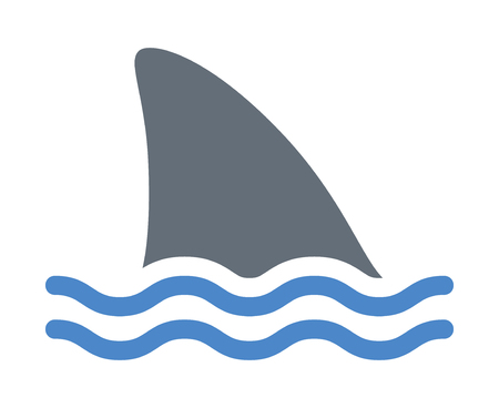 Shark attack warning sign with shark dorsal fin swimming in water flat vector color icon for apps and print