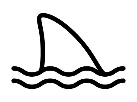 Shark attack warning sign with shark dorsal fin swimming in water line art vector icon for apps and print Illustration