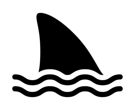 Señal de advertencia de ataque de tiburón con aleta dorsal de tiburón nadando en el icono de vector plano de agua para aplicaciones e impresión Ilustración de vector