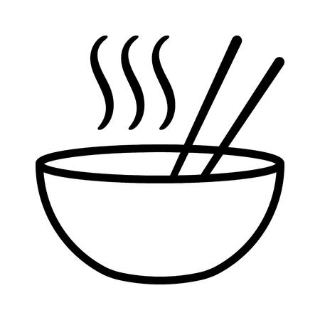 Tazón de sopa de fideos ramen o pho caliente con palillos e icono de vector plano de humo para aplicaciones de alimentos y sitios web