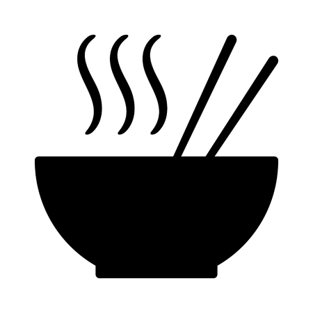 Hot ramen or pho noodle soup bowl with chopsticks and smoke flat vector icon for food apps and websites