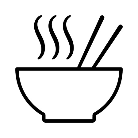 Hot ramen or pho noodle soup bowl with chopsticks and smoke line art vector icon for food apps and websites