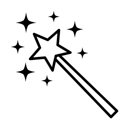 Magic wane with star and sparks or miracle wish line art vector icon for apps and games