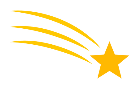 Yellow shooting star  make a wish flat vector icon for apps and websites