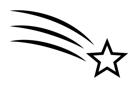 Shooting star / make a wish line art vector icon for apps and websites