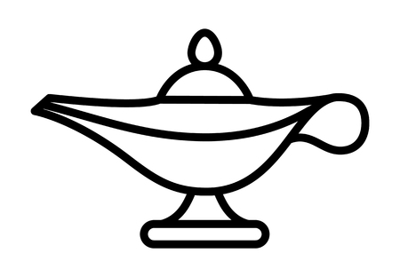 Magic lamp of the genie jinn line art vector icon for apps and games