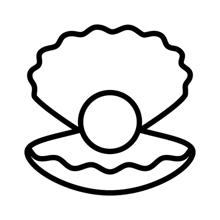 Large pearl inside an open mollusk shell flat vector icon for jewelry apps and websites