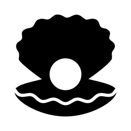 Grande perla all'interno di un'icona vettoriale piatta conchiglia di mollusco aperta per app e siti Web di gioielli Vettoriali