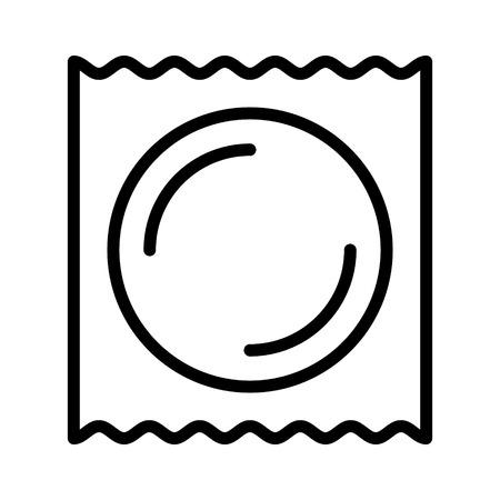 Préservatif emballé pour une icône vectorielle d'art en ligne sûre pour les applications et les sites Web