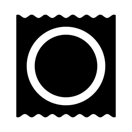 Wrapped condom for safe sex flat vector icon for apps and websites